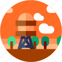 circle, farming, field, flat icon, landscape, village, water tower icon