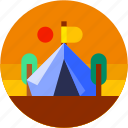 camping, circle, flat icon, holiday, landscape, tent icon