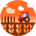 circle, farming, field, flat icon, landscape, tractor, wheat icon