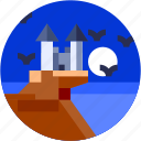 castle, circle, flat icon, landscape, moon, sea, sea bird icon