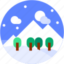circle, flat icon, landscape, mountain, snow, winter icon