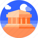 circle, flat icon, landscape, parthenon, tourism icon