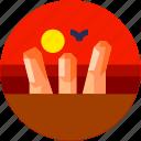 circle, flat icon, geopark, landscape, stone, tourism icon