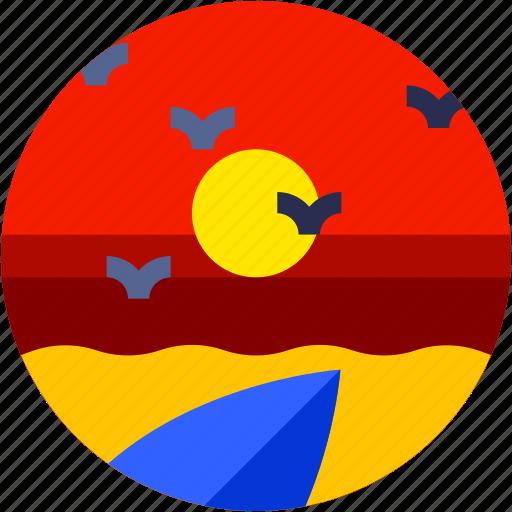beach, circle, flat icon, landscape, sea bird, sunrise, sunset icon