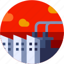 circle, factory, flat icon, industial, landscape icon