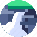 circle, flat icon, landscape, mountain, water, waterfall icon