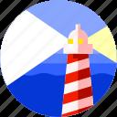 beach, circle, flat icon, landscape, lighthouse, sea icon