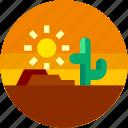 cactus, circle, desert, flat icon, hot, landscape, sun