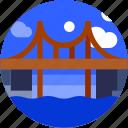 brigde, circle, flat icon, landscape icon