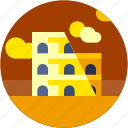 circle, colosseum, europe, flat icon, italy, landscape icon
