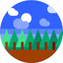 circle, flat icon, forest, landscape, trees icon