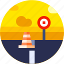 circle, flat icon, landscape, road icon