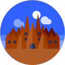 barcelona, castle, circle, flat icon, landscape icon