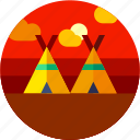 camping, circle, flat icon, indian, landscape, tent, traditional icon