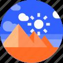 circle, desert, egypt, flat icon, landscape, pyramid, tourism icon