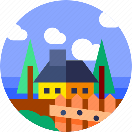 Circle, flat icon, house, landscape, trees, village icon - Download on Iconfinder