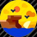 beach, circle, cliff, flat icon, landscape, nature, sea birds icon