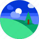 circle, flat icon, hills, landscape, tourism, tree icon