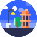 building, circle, city, flat icon, hotel, landscape