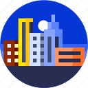 building, circle, city, flat icon, landscape icon