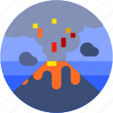 circle, eruption, flat icon, landscape, nature, volcano icon