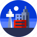 building, circle, city, flat icon, landscape, tower icon