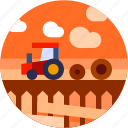 circle, farming, field, flat icon, landscape, tractor icon
