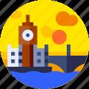 big ben, circle, england, europe, flat icon, landscape, tourism icon
