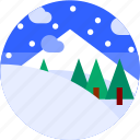 circle, flat icon, landscape, mountain, snow, trees, winter icon