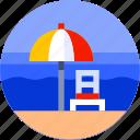 beach, circle, flat icon, holiday, landscape, tourism, umbrella icon
