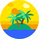 beach, circle, coconut trees, flat icon, island, landscape, sea icon