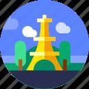 circle, eiffel, europe, flat icon, landscape, paris, tourism icon