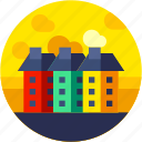 apartment, buiding, circle, city, flat icon, landscape icon