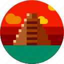 astec, circle, flat icon, landscape, maya pyramid, mexico, tourism icon