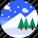 circle, flat icon, landscape, mountain, trees, winter icon