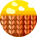 circle, field, flat icon, landscape, plant, wheat icon