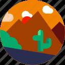 cactus, circle, flat icon, landscape, mountain, plants icon