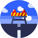 circle, flat icon, highway, landscape, under construction icon