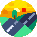 circle, falt icon, hills, landscape, road, tourism, travel icon