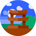 asia, circle, flat icon, japan, landscape, temple, tourism icon