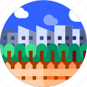 building, circle, city, flat icon, landscape, trees icon