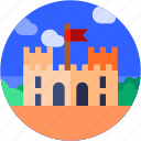 building, castle, circle, flat icon, historical building, landscape icon