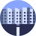 building, circle, city, flat icon, landscape, office icon