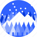 circle, flat icon, forest, landscape, mountain, trees, winter icon