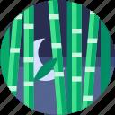 bamboo, circle, flat icon, landscape, nature, trees