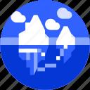 adventure, circle, flat icon, ice berg, landscape, nature, pole icon