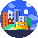 building, circle, city, flat icon, garden, landscape, tree icon