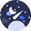 circle, comet, flat icon, landscape, meteor, sky, star