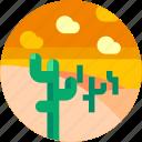 cactus, circle, desert, flat icon, landscape icon