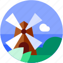 circle, energy, flat icon, green, landscape, nature, wind mill icon
